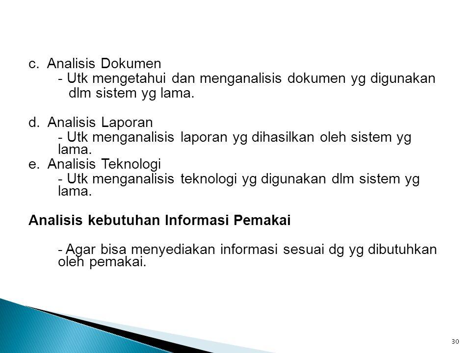 c. Analisis Dokumen - Utk mengetahui dan menganalisis dokumen yg digunakan. dlm sistem yg lama. d. Analisis Laporan.