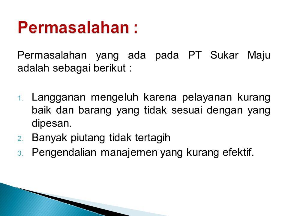 Permasalahan : Permasalahan yang ada pada PT Sukar Maju adalah sebagai berikut :