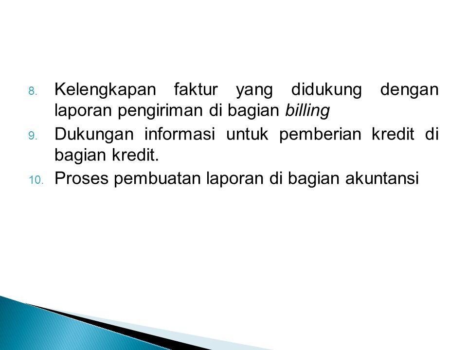 Kelengkapan faktur yang didukung dengan laporan pengiriman di bagian billing