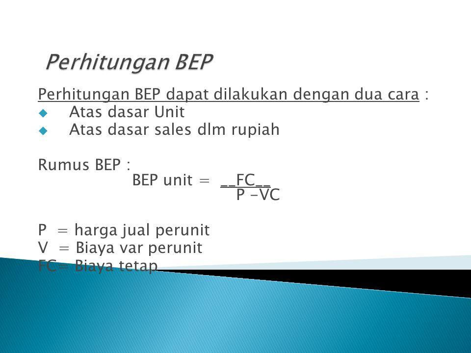 Perhitungan BEP Perhitungan BEP dapat dilakukan dengan dua cara :