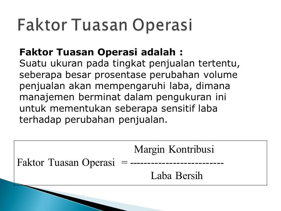 Faktor Tuasan Operasi Faktor Tuasan Operasi adalah :