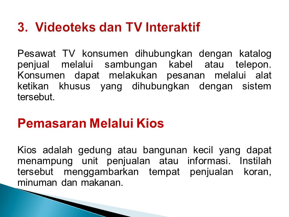 3. Videoteks dan TV Interaktif
