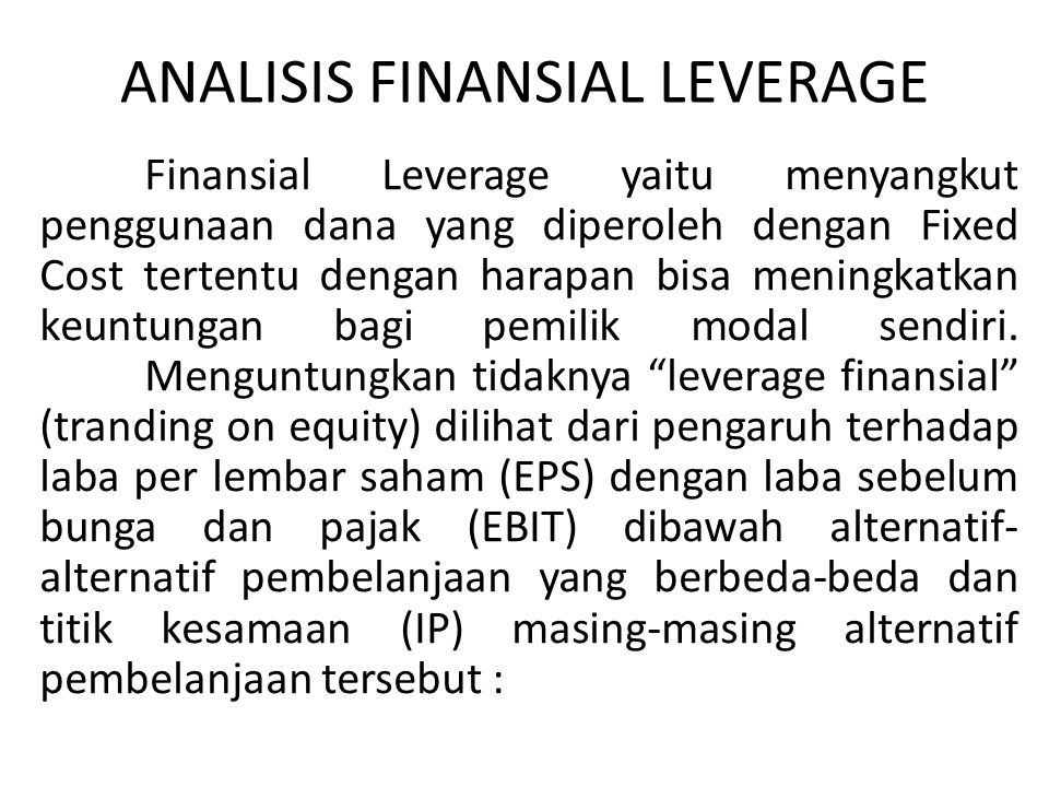 ANALISIS FINANSIAL LEVERAGE