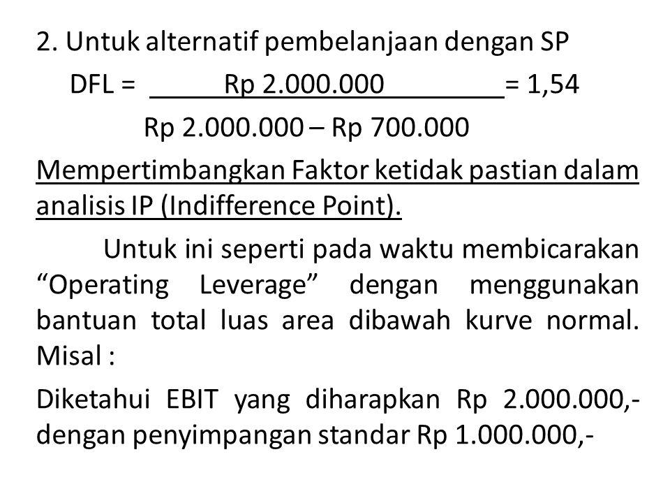 2. Untuk alternatif pembelanjaan dengan SP DFL = Rp 2. 000