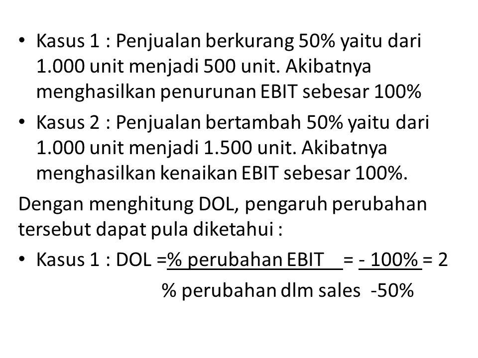 Kasus 1 : Penjualan berkurang 50% yaitu dari 1