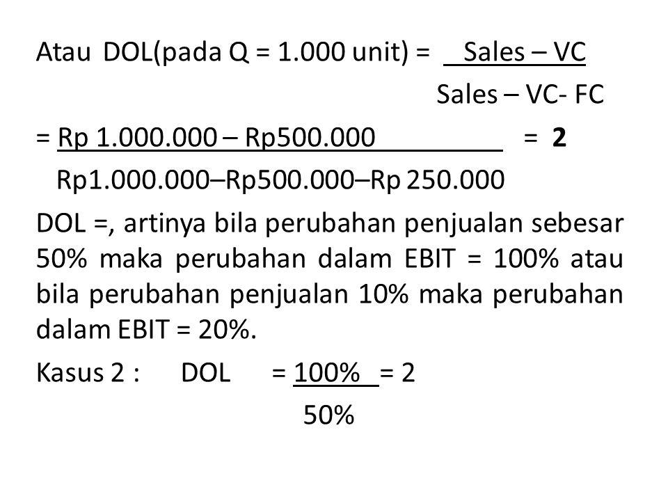 Atau DOL(pada Q = 1. 000 unit) = Sales – VC Sales – VC- FC = Rp 1. 000
