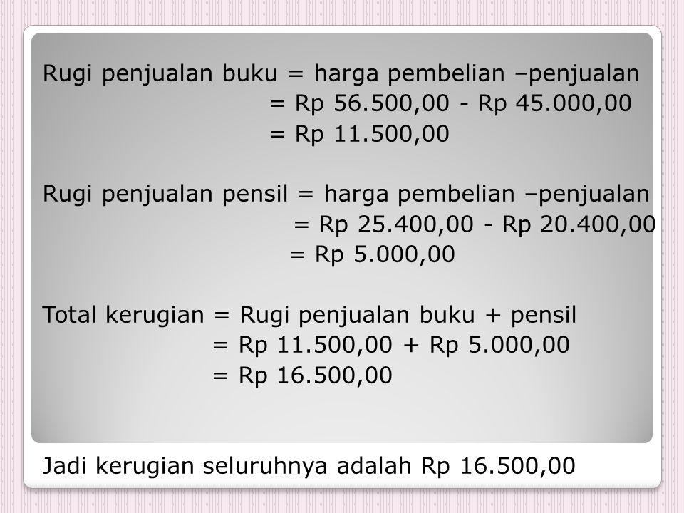 Rugi penjualan buku = harga pembelian –penjualan = Rp 56