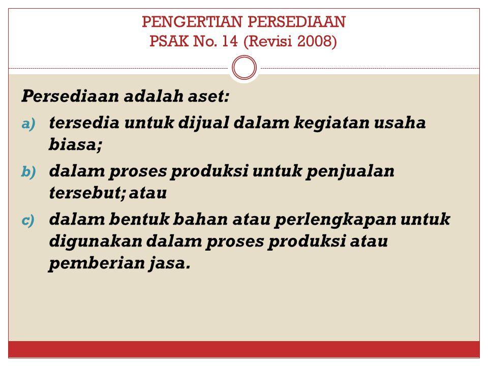 PENGERTIAN PERSEDIAAN PSAK No. 14 (Revisi 2008)