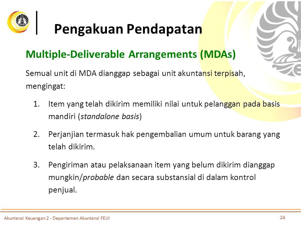 Pengakuan Pendapatan Multiple-Deliverable Arrangements (MDAs)
