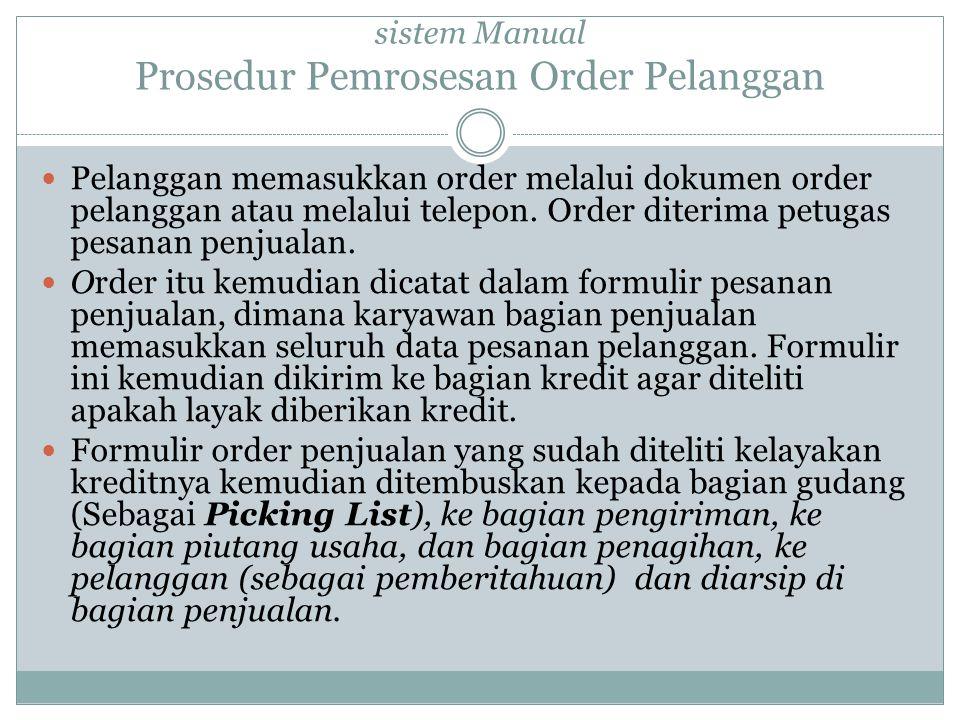 sistem Manual Prosedur Pemrosesan Order Pelanggan