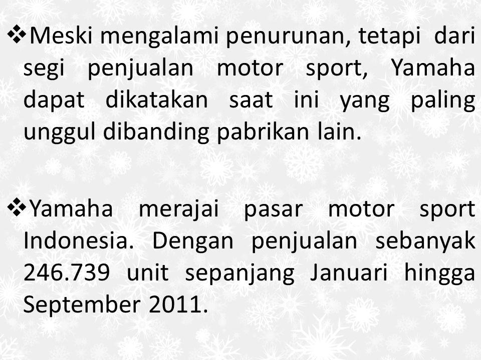 Meski mengalami penurunan, tetapi dari segi penjualan motor sport, Yamaha dapat dikatakan saat ini yang paling unggul dibanding pabrikan lain.