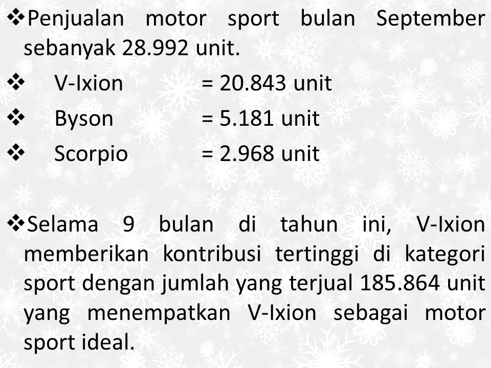 Penjualan motor sport bulan September sebanyak 28.992 unit.