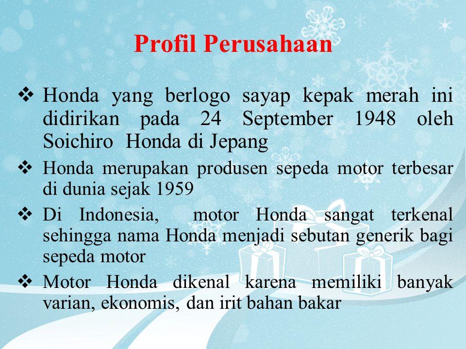 Profil Perusahaan Honda yang berlogo sayap kepak merah ini didirikan pada 24 September 1948 oleh Soichiro Honda di Jepang.