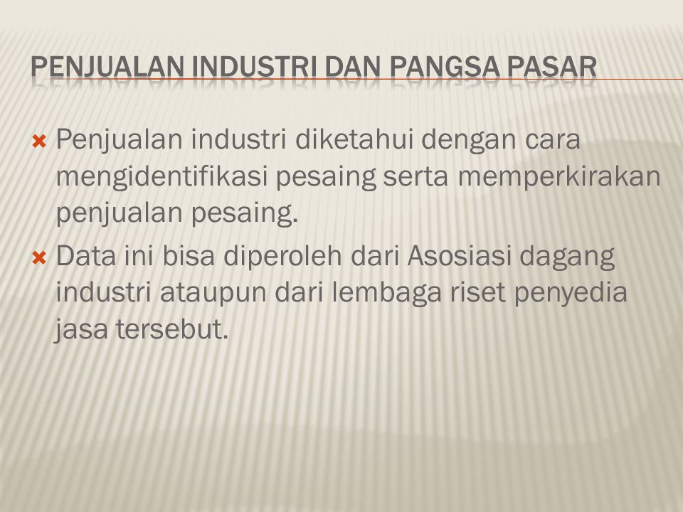 Penjualan Industri dan Pangsa Pasar