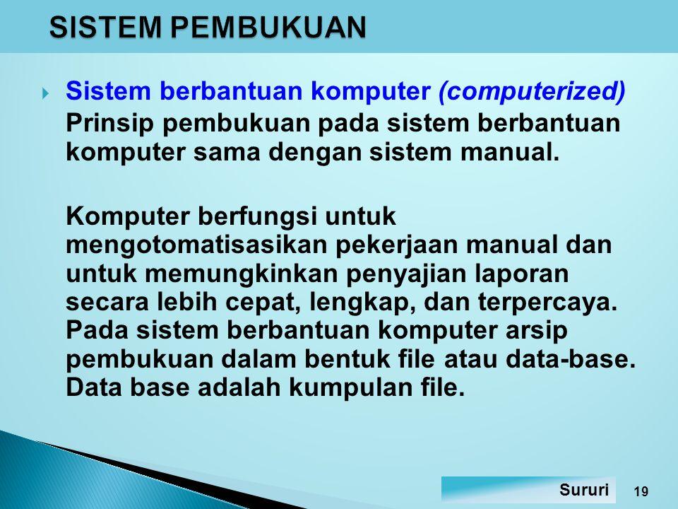 SISTEM PEMBUKUAN Sistem berbantuan komputer (computerized)