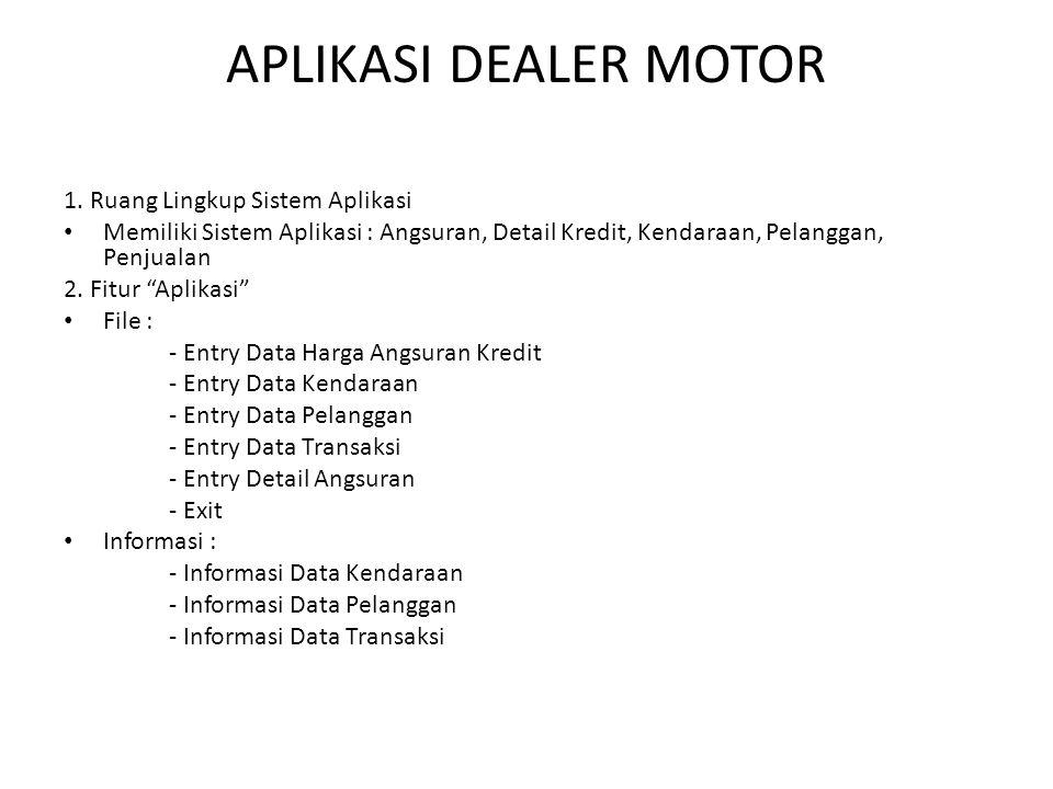 APLIKASI DEALER MOTOR 1. Ruang Lingkup Sistem Aplikasi