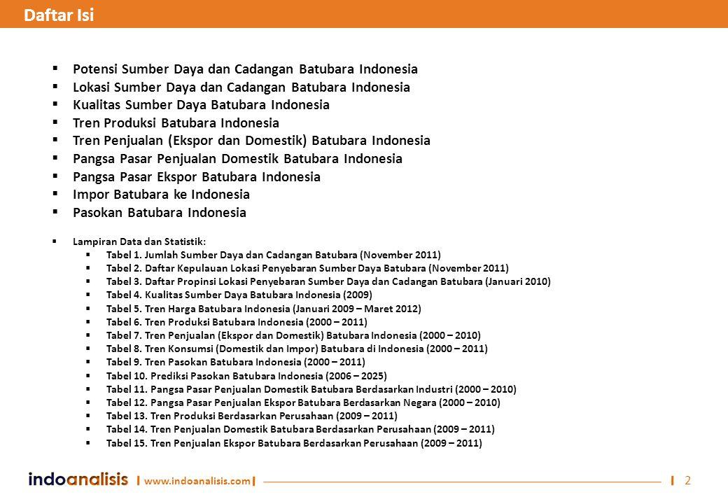 Daftar Isi Potensi Sumber Daya dan Cadangan Batubara Indonesia