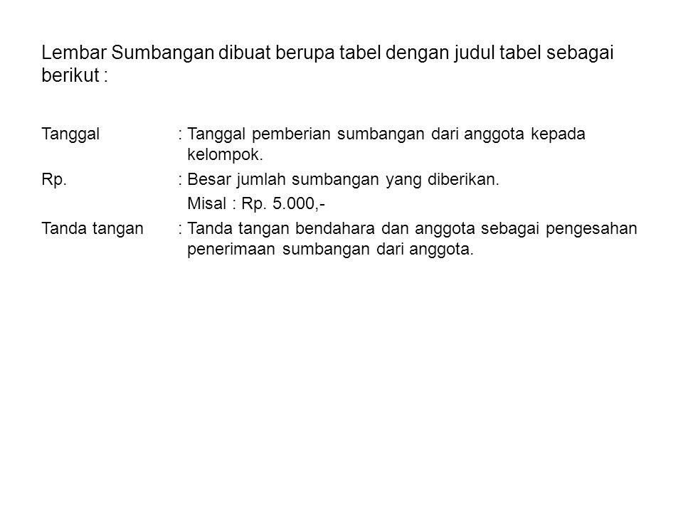 Lembar Sumbangan dibuat berupa tabel dengan judul tabel sebagai berikut :