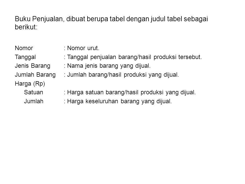 Buku Penjualan, dibuat berupa tabel dengan judul tabel sebagai berikut: