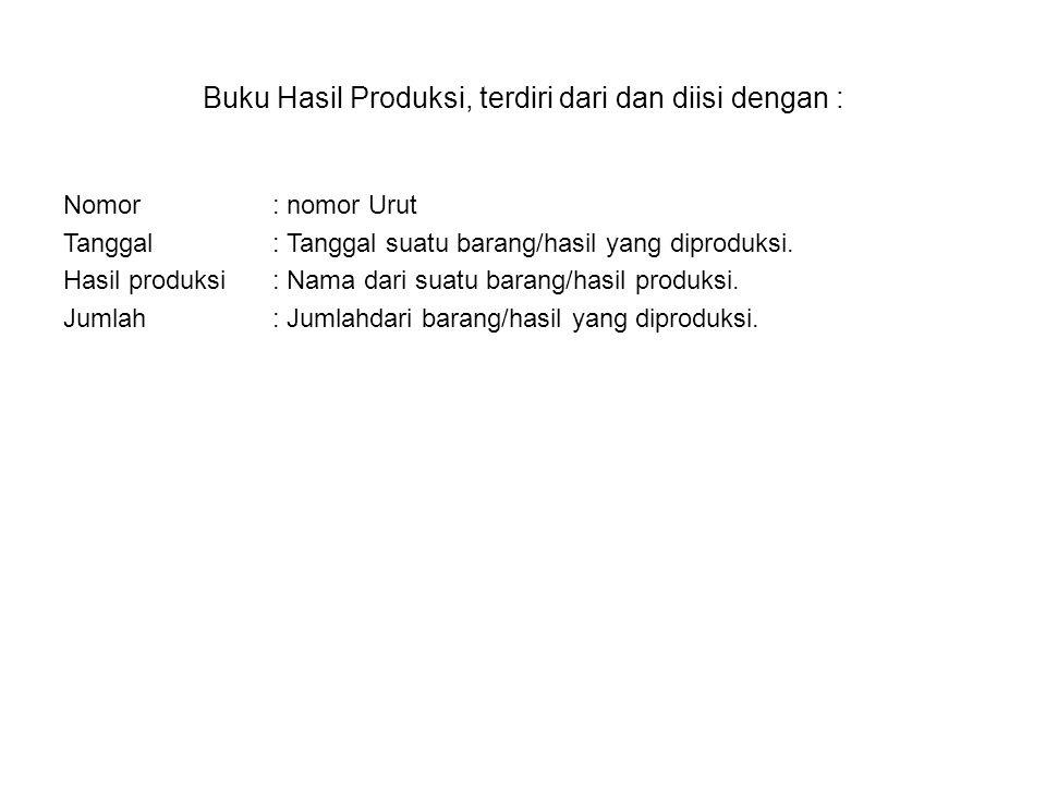 Buku Hasil Produksi, terdiri dari dan diisi dengan :