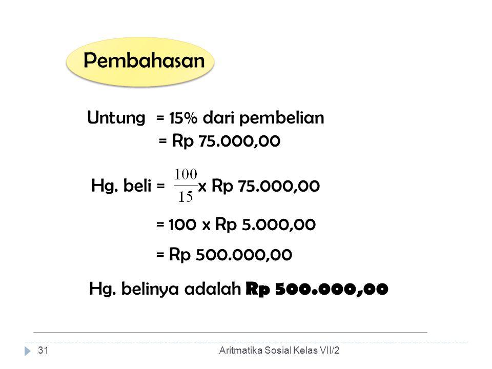Pembahasan Untung = 15% dari pembelian = Rp 75.000,00