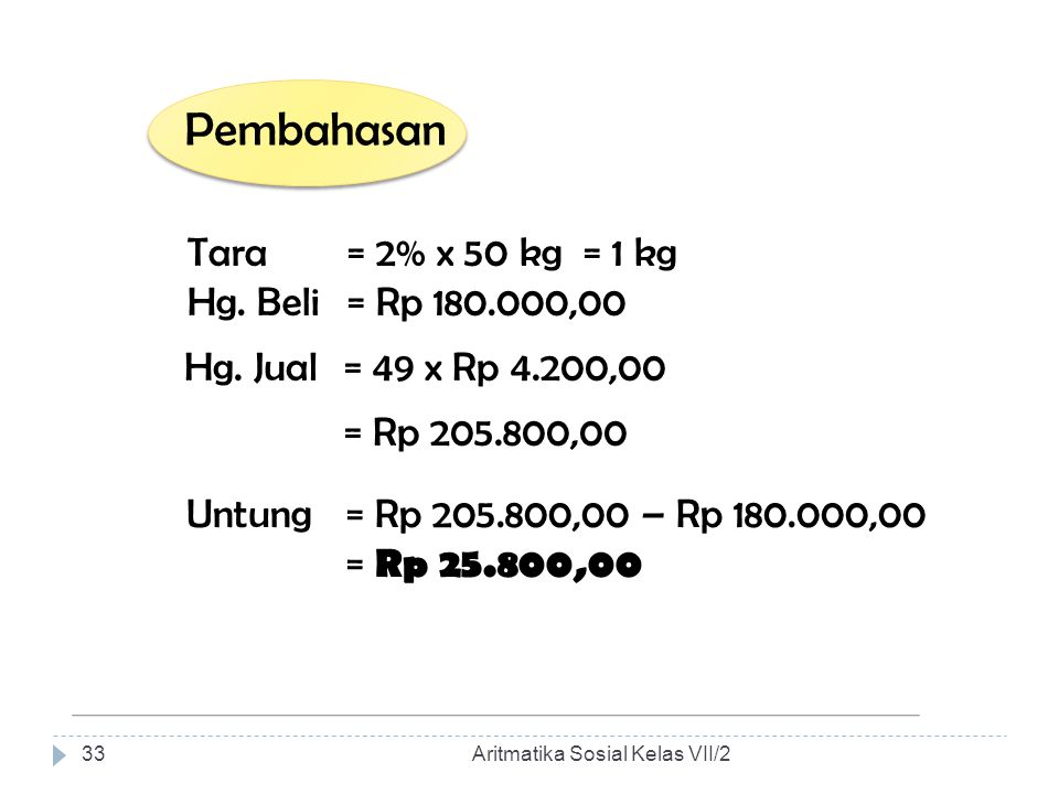 Pembahasan Tara = 2% x 50 kg = 1 kg Hg. Beli = Rp 180.000,00