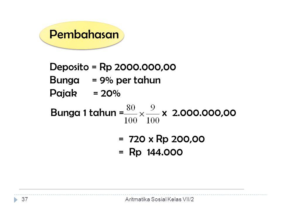 Pembahasan Deposito = Rp 2000.000,00 Bunga = 9% per tahun Pajak = 20%