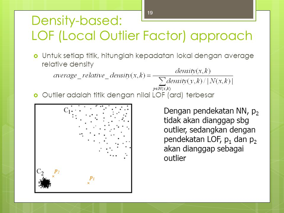 Density-based: LOF (Local Outlier Factor) approach