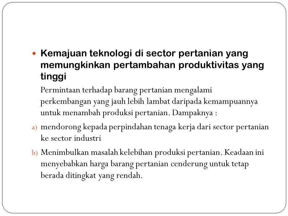 Kemajuan teknologi di sector pertanian yang memungkinkan pertambahan produktivitas yang tinggi