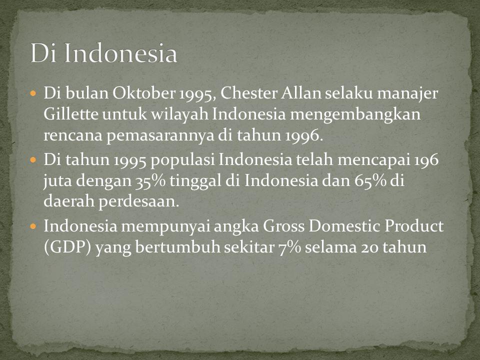 Di Indonesia Di bulan Oktober 1995, Chester Allan selaku manajer Gillette untuk wilayah Indonesia mengembangkan rencana pemasarannya di tahun 1996.