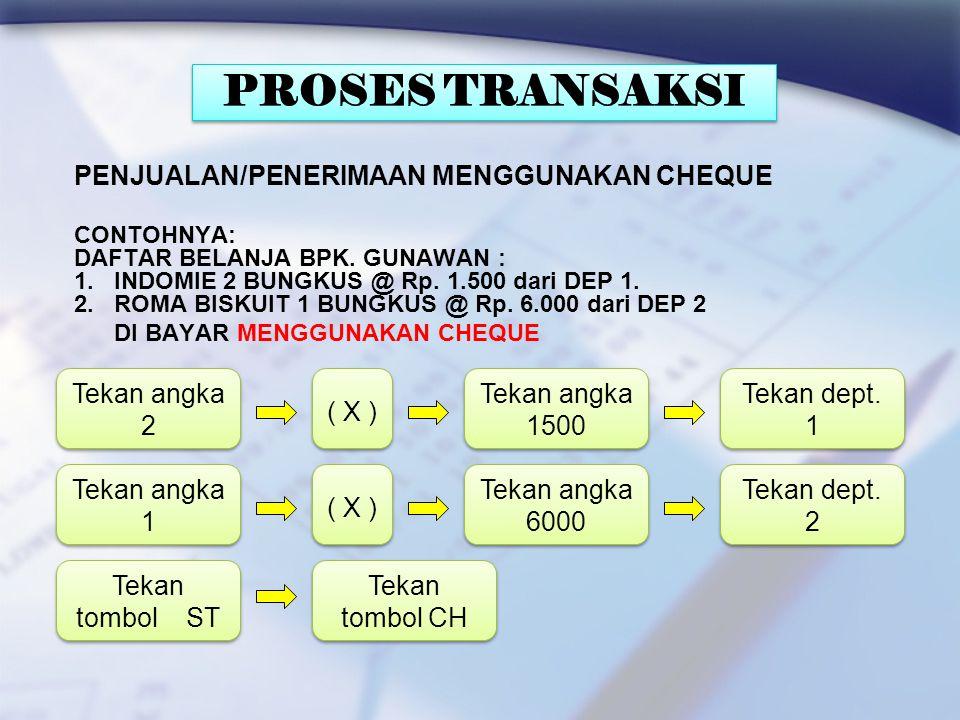 PROSES TRANSAKSI PENJUALAN/PENERIMAAN MENGGUNAKAN CHEQUE Tekan angka 2