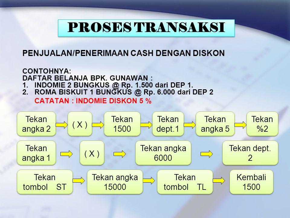 PROSES TRANSAKSI PENJUALAN/PENERIMAAN CASH DENGAN DISKON Tekan angka 2