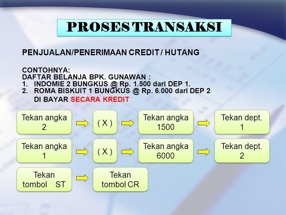 PROSES TRANSAKSI PENJUALAN/PENERIMAAN CREDIT / HUTANG Tekan angka 2