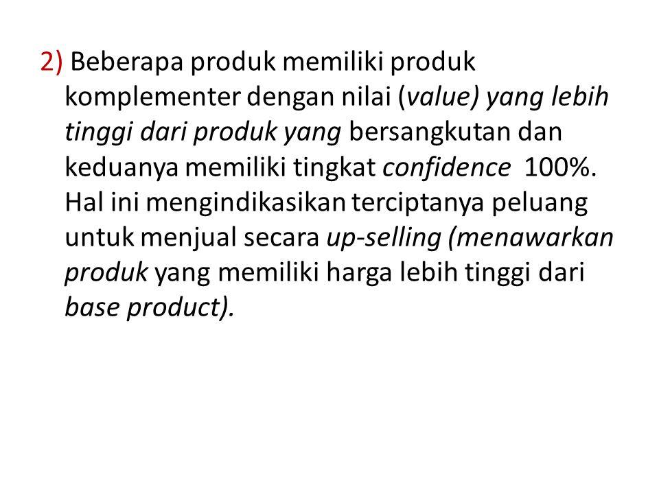 2) Beberapa produk memiliki produk komplementer dengan nilai (value) yang lebih tinggi dari produk yang bersangkutan dan keduanya memiliki tingkat confidence 100%.