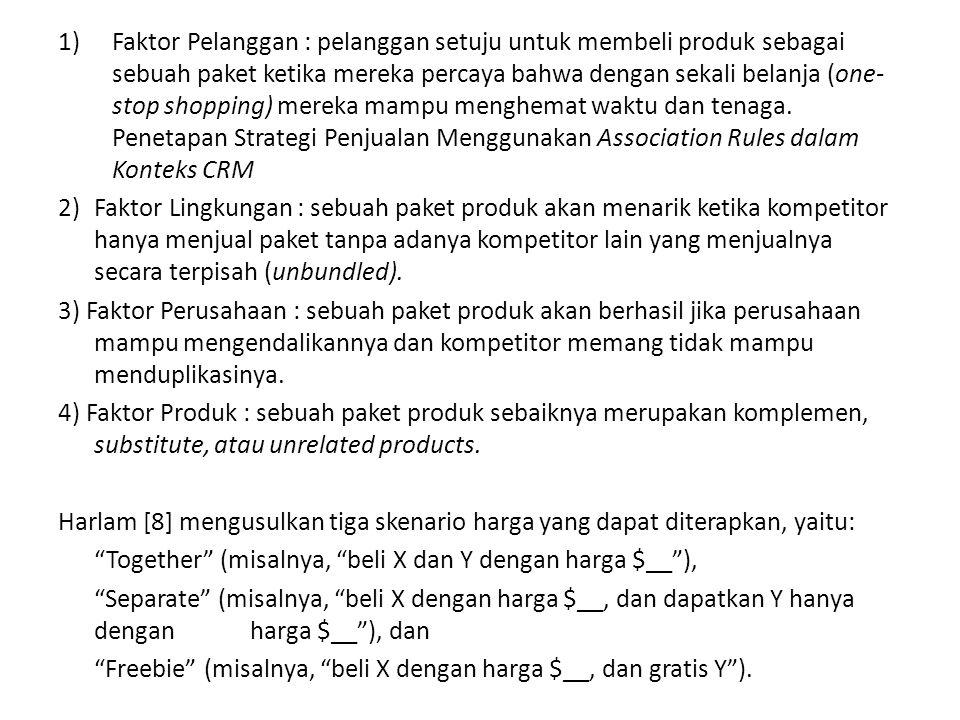 Faktor Pelanggan : pelanggan setuju untuk membeli produk sebagai sebuah paket ketika mereka percaya bahwa dengan sekali belanja (one-stop shopping) mereka mampu menghemat waktu dan tenaga. Penetapan Strategi Penjualan Menggunakan Association Rules dalam Konteks CRM