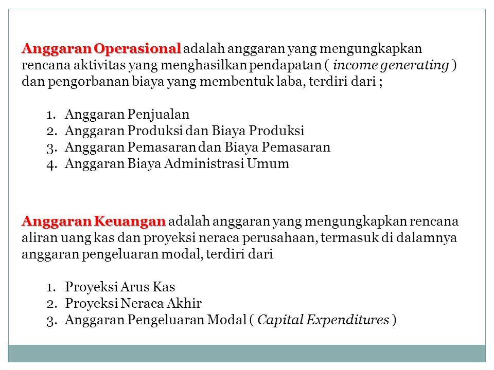 Anggaran Operasional adalah anggaran yang mengungkapkan rencana aktivitas yang menghasilkan pendapatan ( income generating ) dan pengorbanan biaya yang membentuk laba, terdiri dari ;
