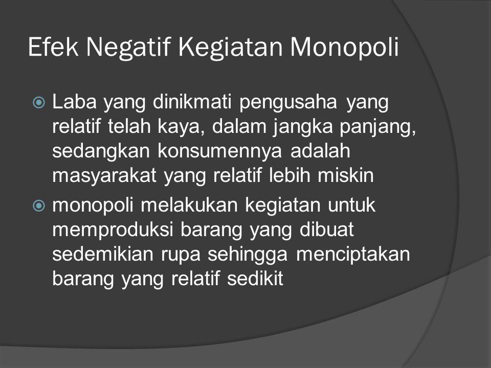 Efek Negatif Kegiatan Monopoli