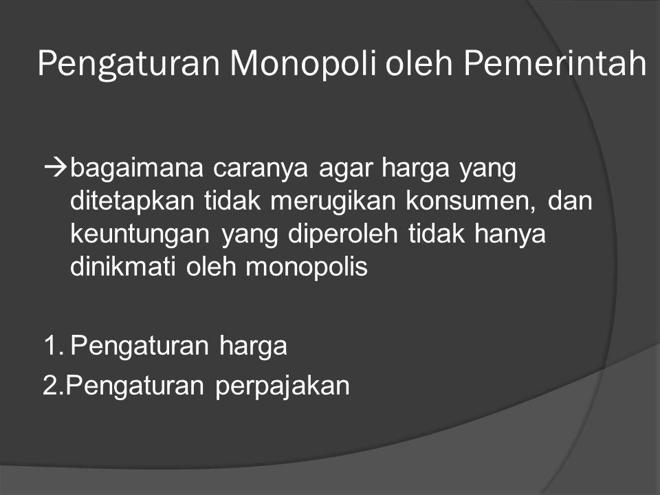 Pengaturan Monopoli oleh Pemerintah