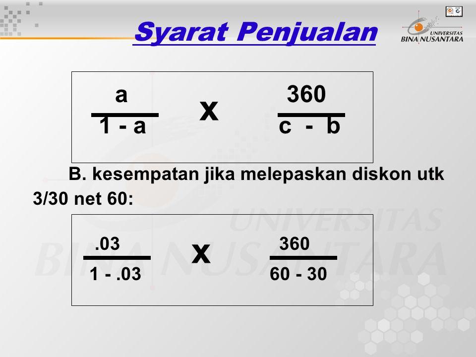 x x Syarat Penjualan 1 - a c - b a 360