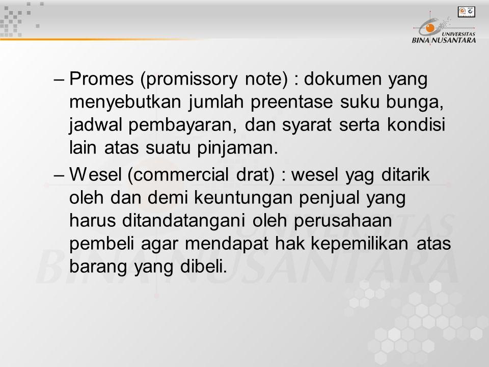 Promes (promissory note) : dokumen yang menyebutkan jumlah preentase suku bunga, jadwal pembayaran, dan syarat serta kondisi lain atas suatu pinjaman.