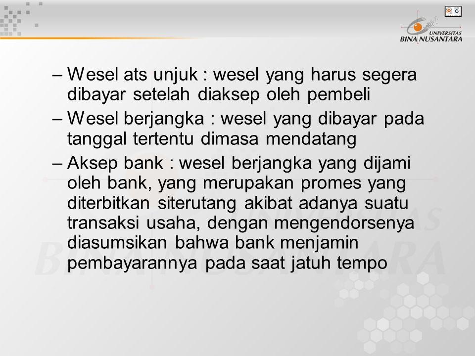 Wesel ats unjuk : wesel yang harus segera dibayar setelah diaksep oleh pembeli