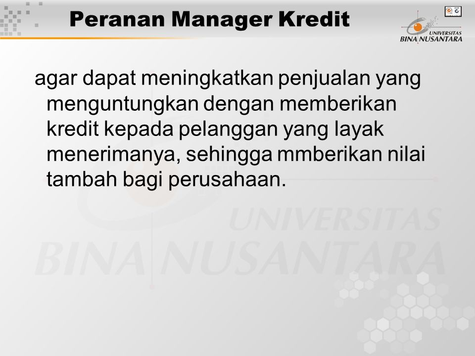 Peranan Manager Kredit