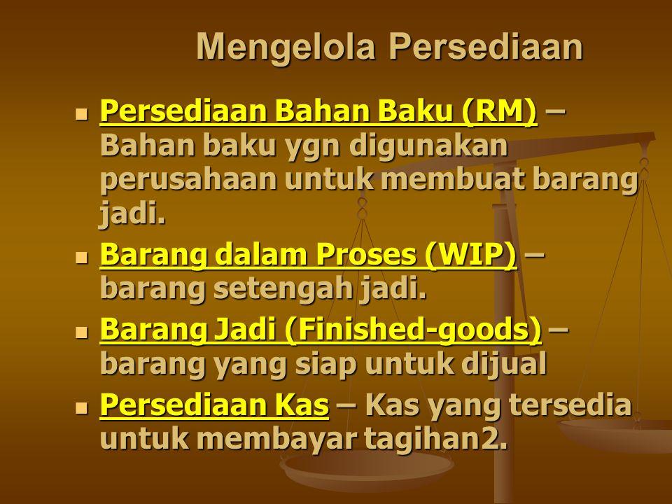 Mengelola Persediaan Persediaan Bahan Baku (RM) – Bahan baku ygn digunakan perusahaan untuk membuat barang jadi.