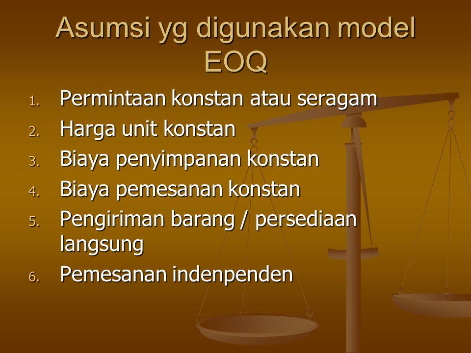 Asumsi yg digunakan model EOQ