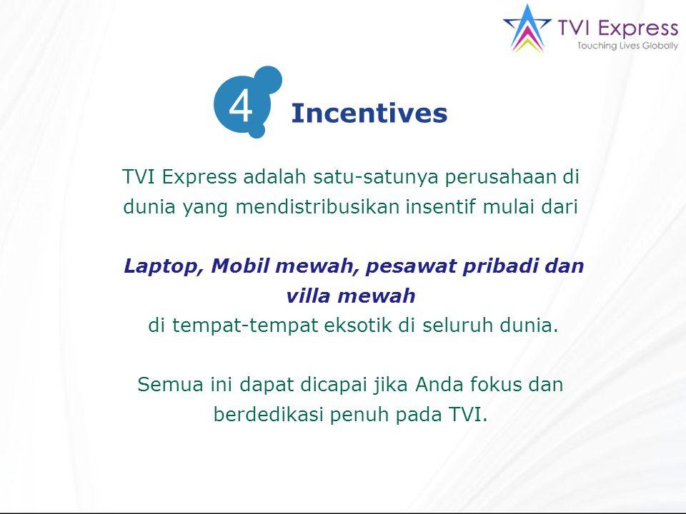 4 Incentives. TVI Express adalah satu-satunya perusahaan di dunia yang mendistribusikan insentif mulai dari.