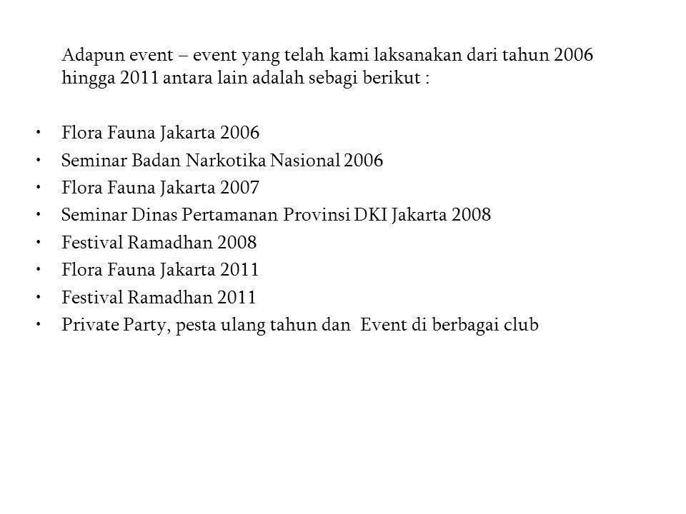 Adapun event – event yang telah kami laksanakan dari tahun 2006 hingga 2011 antara lain adalah sebagi berikut :