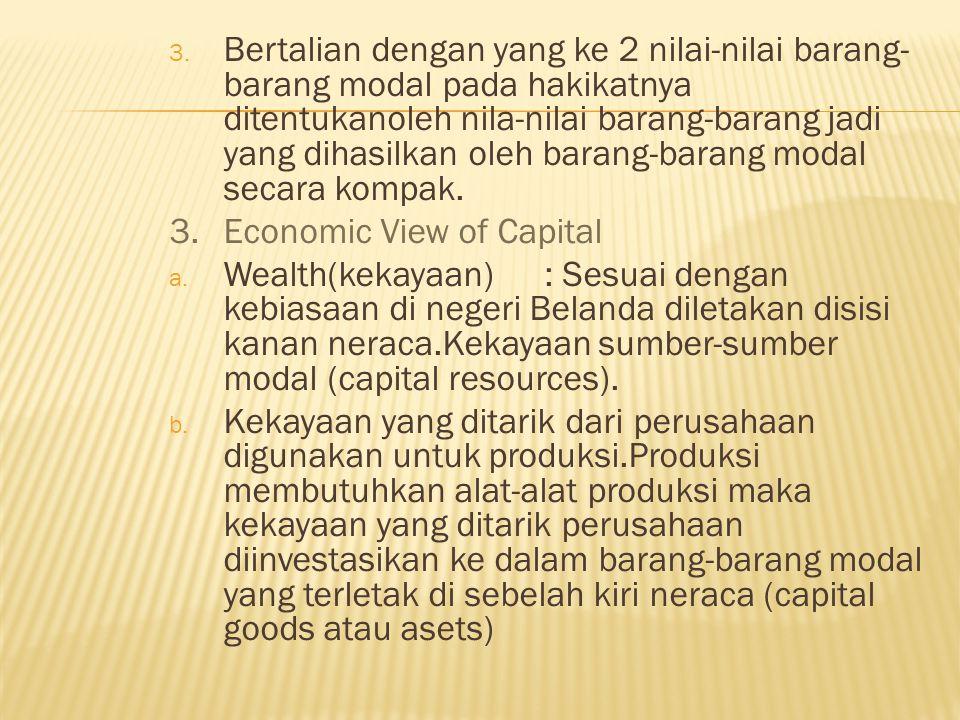 Bertalian dengan yang ke 2 nilai-nilai barang-barang modal pada hakikatnya ditentukanoleh nila-nilai barang-barang jadi yang dihasilkan oleh barang-barang modal secara kompak.