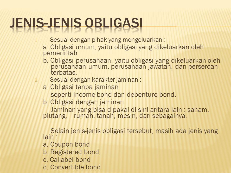JENIS-JENIS OBLIGASI Sesuai dengan pihak yang mengeluarkan : a. Obligasi umum, yaitu obligasi yang dikeluarkan oleh pemerintah.