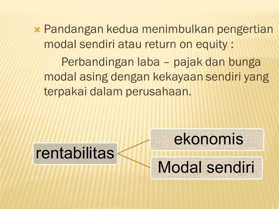 Pandangan kedua menimbulkan pengertian modal sendiri atau return on equity :