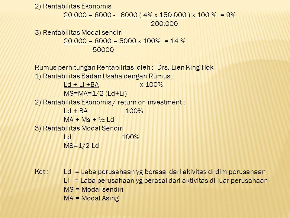 2) Rentabilitas Ekonomis. 20. 000 – 8000 - 6000 ( 4% x 150
